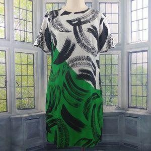 Vince Camuto White Black Green Dress size 6 C152☮️